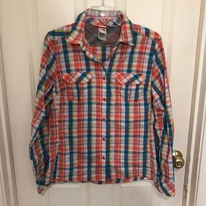 The North Face plaid button up shirt size medium